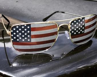 American Flag Aviator Sunglasses (Silver Frame/Square Lenses)