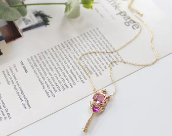 Sailormoon magical heart wing wand necklace