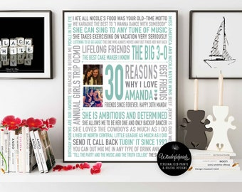 Best Friend Gift / Reasons Why I Love You / Personalised 30th Birthday Gift / Word Art / Friendship Print / Digital Download /