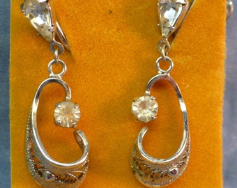 Vintage Ann Lee Sterling Silver Screw back Earrings