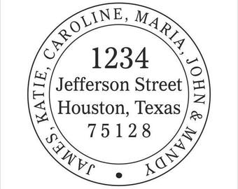 Personalized Round Address Stamp - one of many designs available