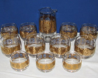 CULVER CORONET GLASSWARE 22K – Martini Pitcher and 11 Roly Poly Glasses