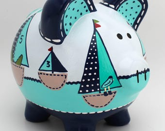 Row Your Boat Nautical Sailboat Personalized Piggy bank in Navy, Turquoise and Blue