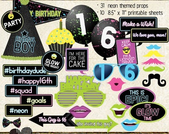 Photo Booth Props, HAPPY 16TH BIRTHDAY, boy, teen birthday party, glow, neon, black light, printable, instant download, selfie station