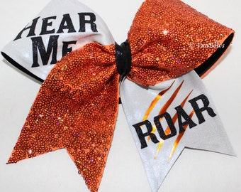 HEAR me Roar Custom Cheer Hairbow sequin ALLSTAR - available in your colors