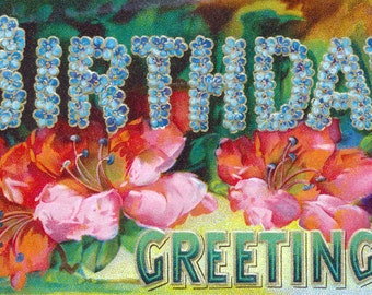 Birthday Card - Victorian Era Greeting Card - Flowers Forget Me Nots
