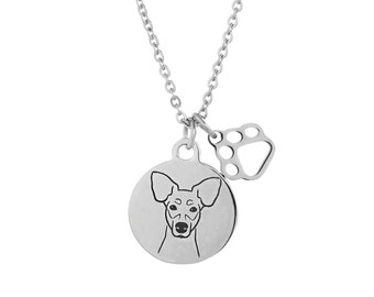 Rat Terrier Dog Charm Necklace, Stainless Steel Rat Terrier Necklace, Rat Terrier Jewelry, Rat Terrier Gift