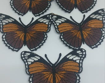 Set of 5 Butterfly 4.5x7.5cm Patch Embroidered Iron On Patch.