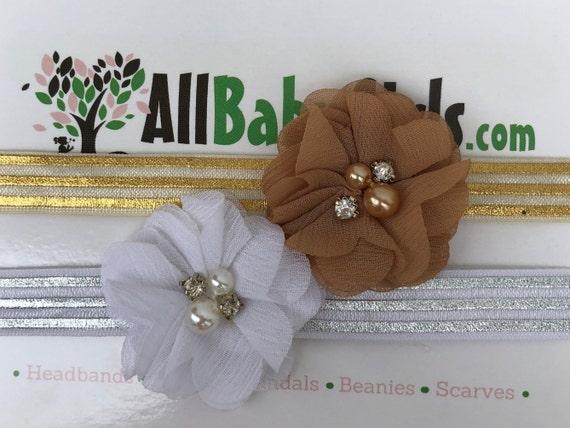 Gold Baby Headband, White Infant Headbands, Flower Headband, Flower Headband, White Flower Headband, Gold Flower Headband, Infant Headband