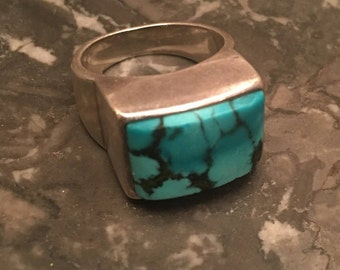 STERLING TURQUOISE RING heavy vintage 925 size 6.5 -7