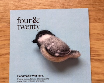 Needle Felted Coal Tit Brooch