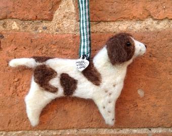 Needle Felt Spaniel - Felted Ornament - Needle Felt Dogs - Handmade Dog - Dog Lover Gift - Rustic Ornament - Felt Animals