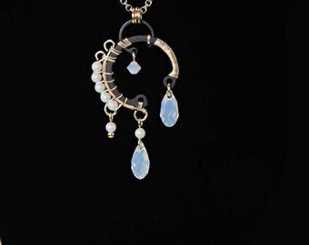 Swarovski Crystal Pendant, White Opal Crystal, Pearlescent Pearls, Swarovski Necklace, Industrial Necklace  Bridal jewelry, Oberon