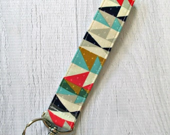 Aztec Wrist Strap Key Fob | Southwest Print Key Lanyard in Mint, Coral and Navy