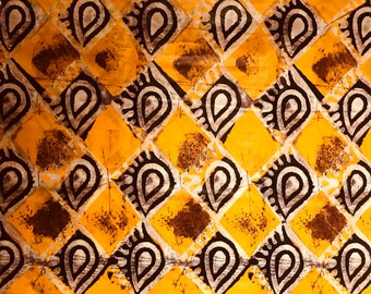 African print fabric, Mustard diamond shapes Batik, African Wax Print, Tribal print, African Ankara, African Material, sold by the yard