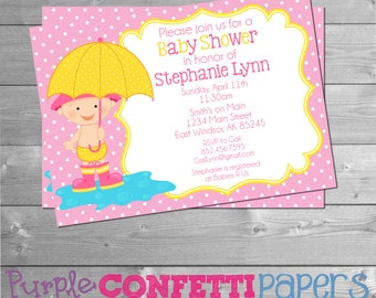 Baby Girl Umbrella Baby Shower Invitation, Baby Shower, Invitation 5x7, Pink, Yellow, Shower Invitation, Rain Showers, Puddles, Umbrella