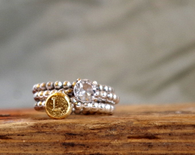 White Topaz Ring Initial Ring Birthstone Personalized Jewelry Gifts for Aries Gifts for Mom