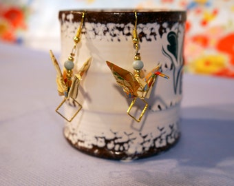 Origami - Golden beige ecru crane earrings