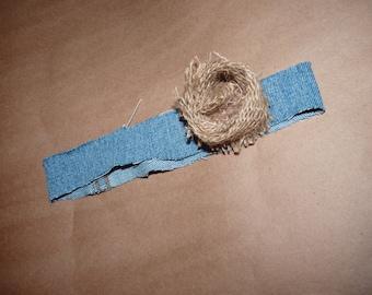 0-3m Denim/burlap flower Headband