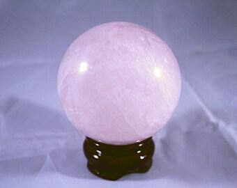 70mm Crystal Ball, Rose Quartz Crystal Ball, 70mm Rose Quartz Crystal Ball Globe Sphere Orb with Wooden Stand