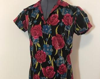 1970s vintage rose shirt dress