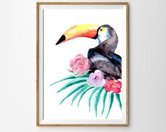 Nursery Printable, Digital Download, Toucan Bird Print, Wall Art Poster, Gender Neutral Nursery Decor, Nursery Animal, Digital Wall Art