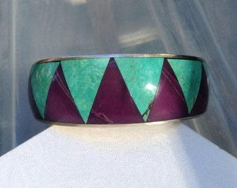 Sterling Navajo Inlay Turquoise Sugilite Bracelet