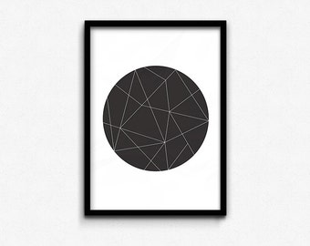 Black Geometric Circle • Abstract Print • Graphic Poster • Printable Wall Art • Digital Printable • Instant Download