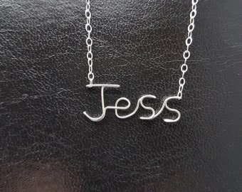 "Name Pendant  ""Jess""  Sterling Silver Custom Wire Word  Necklace Designer in UK"