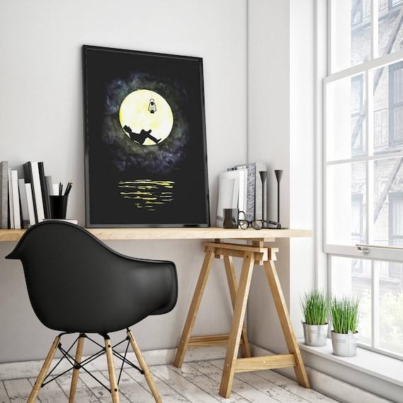 The lunatic | Man in the moon framed poster | Wall art decoration | Watercolor painting | Original artwork | Lightbulb | ZuskaArt