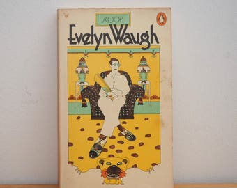 Scoop by Evelyn Waugh, vintage Penguin book, 1980s paperback, orange cover