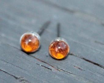 Citrine Gemstone 4mm Bezel Set on Niobium or Titanium Posts (Hypoallergenic Stud Earrings for Sensitive Ears)