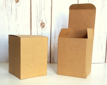 """20 Natural Kraft Gift Boxes 3 x 3 x 4""""  Rustic Wedding Favor Boxes, Party Favor Box"""