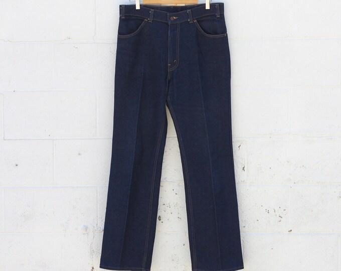 Levi's Orange Tab 70s Dark Wash Thick Boot Cut Cotton Denim Jeans Size 36 x 32 Made in USA