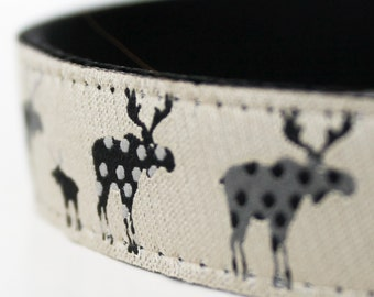 Black Moose Dog Collar, Adjustable, Animal Print Dog Collar, Cabin Style collar