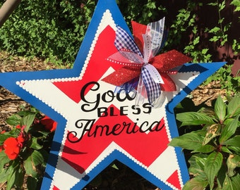 Patriotic Door Decor | Fourth of July Door | Patriotic Wreath | God Bless America