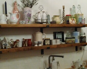 Rustic shelves with choice of handmade solid steel brackets