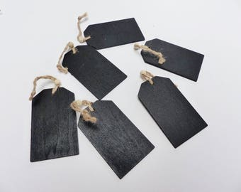 6 chalkboard tags labels rectangular geometric black with cord and bead