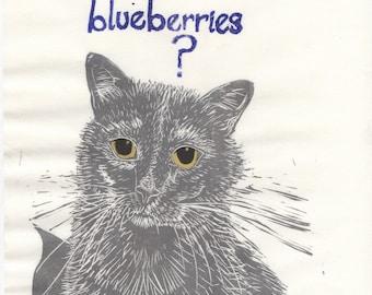 Mr. Samuelson, Cat, Esq. - Original Linocut - Blueberry Loving Cat Lino Block Portrait, Typographic Print