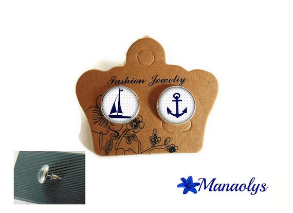 Anchor, Sailboat, sea, silver studs, glass 3322 cabochons earrings