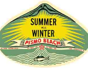 Vintage Style Pismo Beach CA California     Travel Decal sticker