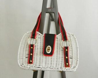 Vintage Encore White Wicker Basket Handbag Purse, Red White & Blue, Made in Hong Kong