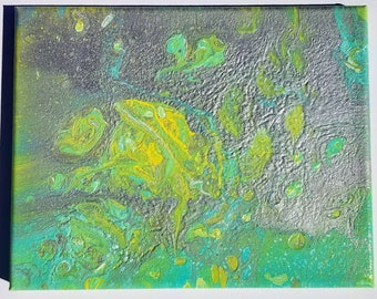 8x10 Green, silver, white, and yellow Cell Art