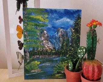 Original Mountain Landscape Oil Painting 8x10