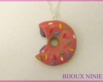Necklace pink donut simpson crunched in fimo