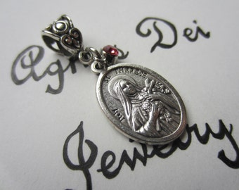 St Therese Medal & Pink Glass Charm Pendant, Patron Saint for Florists - Pilots - Missionaries, Catholic Confirmation Gift