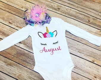 Unicorn one piece / First birthday bodysuit / Baby girl outfit / Unicorn face /  Custom bodysuit / unicorn onesie /Newborn photo outfit