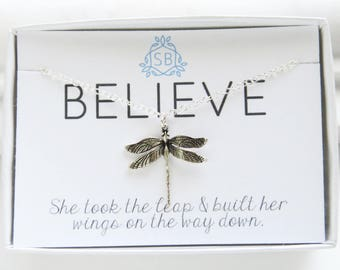 Inspirational Gift • Dragonfly Necklace • Soaring Wings Necklace • Inspiring Jewelry • Motivational Gift • Dragonfly Pendant • B01