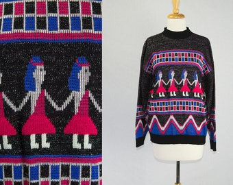 Vintage 1980s Walk Like an Egyptian Sweater Weirdly Cute Hieroglyphic Dancers!