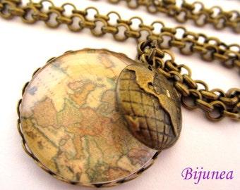 World map necklace - Map necklace - World necklace - Romantic world necklace - Map necklaces n688